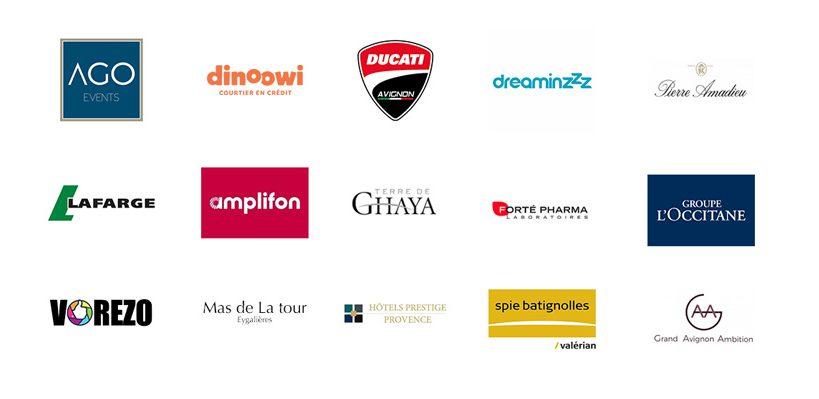 ensemble des logos des clients de l'Atelier B9 à Avignon